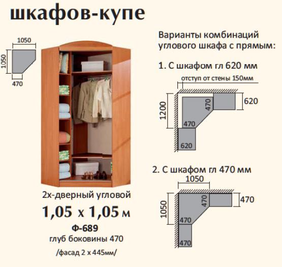 Комбинация углового шкафа.